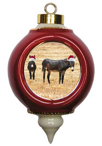 Donkey Victorian Red and Gold Christmas Ornament