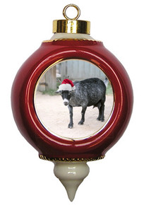 Goat Victorian Red and Gold Christmas Ornament