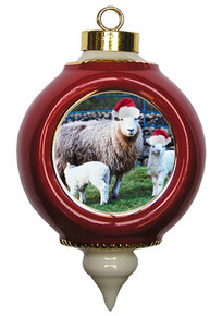 Lamb Victorian Red and Gold Christmas Ornament