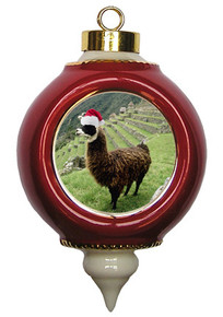Llama Victorian Red and Gold Christmas Ornament
