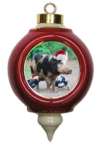 Pig Victorian Red and Gold Christmas Ornament