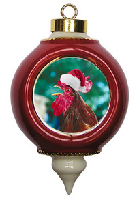 Rooster Victorian Red and Gold Christmas Ornament