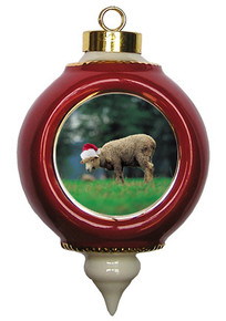 Sheep Victorian Red and Gold Christmas Ornament