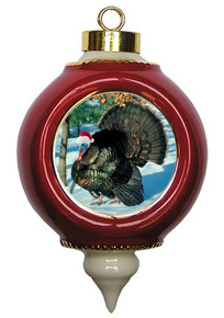Turkey Victorian Red and Gold Christmas Ornament