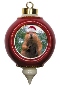 Beaver Victorian Red and Gold Christmas Ornament