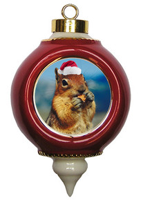 Chipmunk Victorian Red and Gold Christmas Ornament