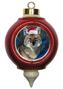 Coyote Victorian Red and Gold Christmas Ornament