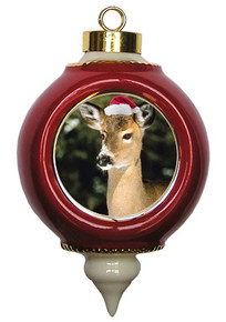 Deer Victorian Red and Gold Christmas Ornament