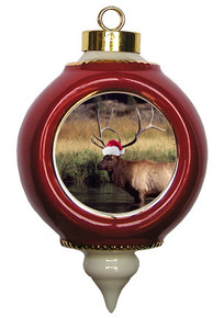 Elk Victorian Red and Gold Christmas Ornament