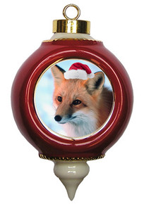 Fox Victorian Red and Gold Christmas Ornament