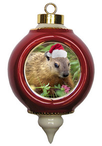 Groundhog Victorian Red and Gold Christmas Ornament