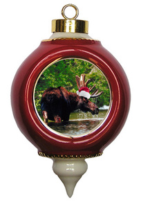 Moose Victorian Red and Gold Christmas Ornament