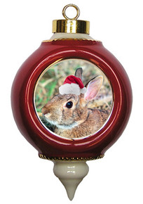 Rabbit Victorian Red and Gold Christmas Ornament