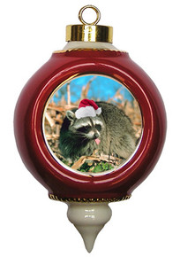 Raccoon Victorian Red and Gold Christmas Ornament