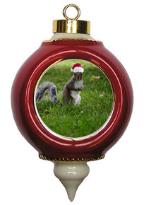 Squirrel Victorian Red and Gold Christmas Ornament