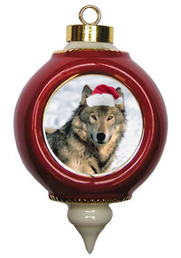 Wolf Victorian Red and Gold Christmas Ornament