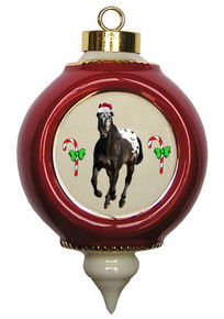 Appaloosa Victorian Red and Gold Christmas Ornament