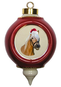 Haflinger Victorian Red and Gold Christmas Ornament