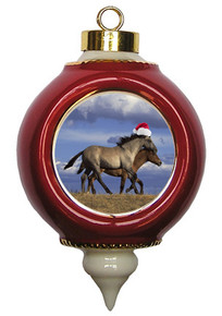 Horse Victorian Red and Gold Christmas Ornament