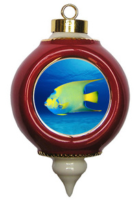 Angelfish Victorian Red and Gold Christmas Ornament