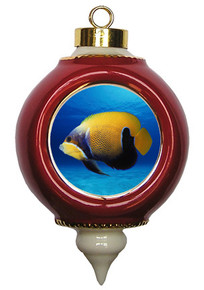 Blue Girdled Angelfish Victorian Red and Gold Christmas Ornament