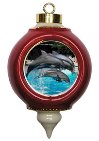 Dolphin Victorian Red and Gold Christmas Ornament