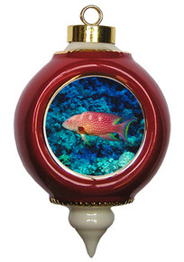 Grouper Victorian Red and Gold Christmas Ornament
