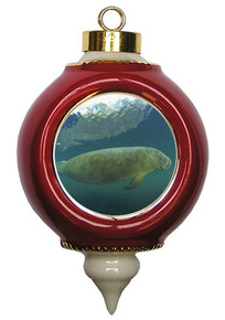 Manatee Victorian Red and Gold Christmas Ornament
