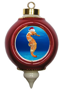 Seahorse Victorian Red and Gold Christmas Ornament