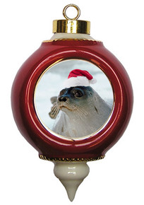 Seal Victorian Red and Gold Christmas Ornament