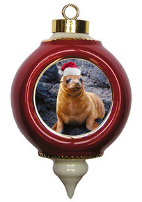 Sea Lion Victorian Red and Gold Christmas Ornament