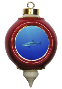 Shark Victorian Red and Gold Christmas Ornament