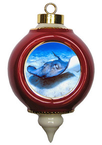 Stingray Victorian Red and Gold Christmas Ornament
