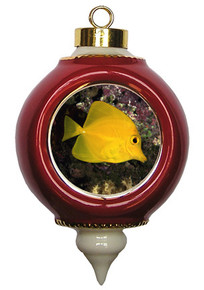 Yellow Tang Victorian Red and Gold Christmas Ornament
