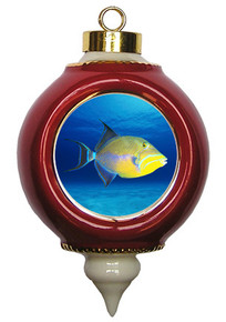 Triggerfish Victorian Red and Gold Christmas Ornament