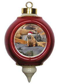 Walrus Victorian Red and Gold Christmas Ornament