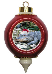 Alligator Victorian Red and Gold Christmas Ornament