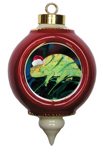 Chameleon Victorian Red and Gold Christmas Ornament