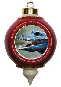 Crocodile Victorian Red and Gold Christmas Ornament