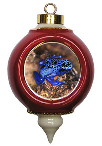 Blue Frog Victorian Red and Gold Christmas Ornament