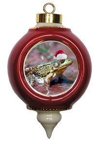Green Frog Victorian Red and Gold Christmas Ornament