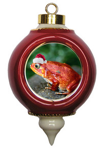 Tomato Frog Victorian Red and Gold Christmas Ornament