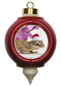 Gecko Victorian Red and Gold Christmas Ornament