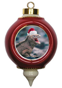 Iguana Victorian Red and Gold Christmas Ornament