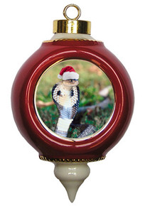 Cobra Snake Victorian Red and Gold Christmas Ornament