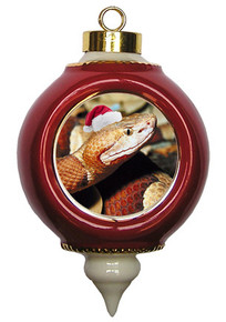 Copperhead Snake Victorian Red and Gold Christmas Ornament