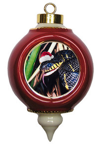 Mangrove Snake Victorian Red and Gold Christmas Ornament