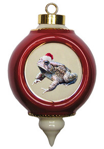 Toad Victorian Red and Gold Christmas Ornament