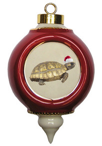 Turtle Victorian Red and Gold Christmas Ornament