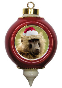 Baboon Victorian Red and Gold Christmas Ornament